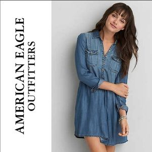 American Eagle Denim Chambray Shirt Dress S